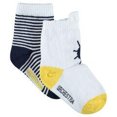 Set van 2 paar bijpassende sokken met motief en strepen in marinestijl