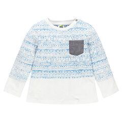 T-shirt lange mouwen met motif zak
