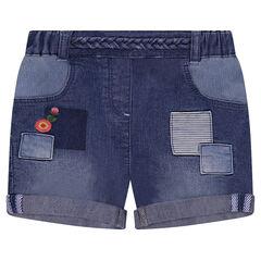 Short van jeans met used effect en gekleurd borduurwerk