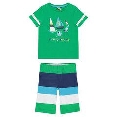 Korte pyjama in jerseystof met bootprint
