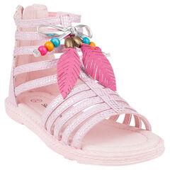 Open schoenen in roze kleur Romeinse sandalen in veertje