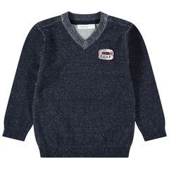 Pull en tricot chiné avec badge sur la poitrine