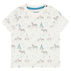 """T-shirt met korte mouwen en met zebra- en tipiprint """"all-over"""""""