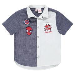 Chemise manches courtes bicolore avec badges brodés ©Marvel Spiderman