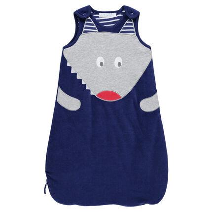 Trappelzak zonder mouwen in fluweel en jersey met motif