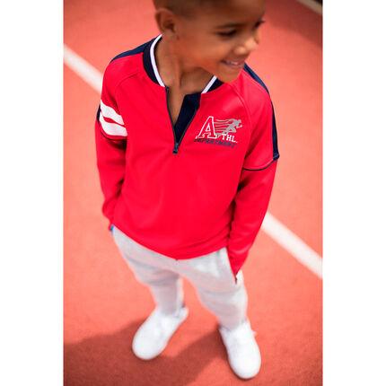 Tee-shirt manches longues avec col zippé et prints esprit sportswear