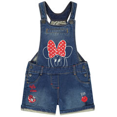 Salopette courte en jean print Minnie