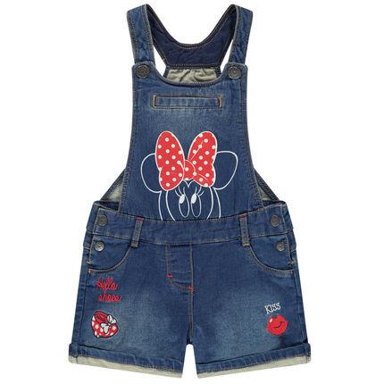 Salopette courte en jean print Minnie