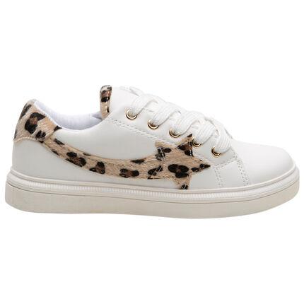 Baskets basses blanches à détails fausse fourrure léopard