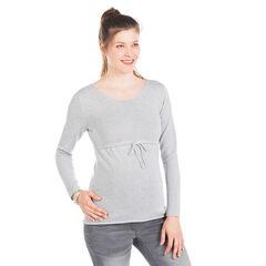 Pull de grossesse uni en tricot fin mélangé fil argenté