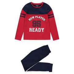 Junior - Pyjama van jerseystof in twee kleuren in sportieve stijl