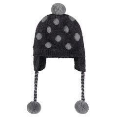 Bonnet péruvien en tricot doublé sherpa avec pois et pompons