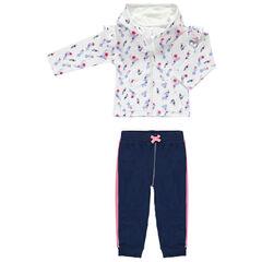 Jogging avec gilet imprimé fleurs all-over et pantalon uni