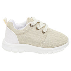 Lage, gouden sneakers met elastische veters van maat 20 tot 23