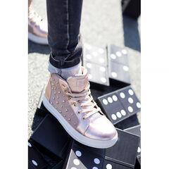 Hoge sneakers uit 2 materialen met decoratieve studs