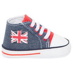 Hoge sneakers uit linnen met jeanseffect en patch met vlag