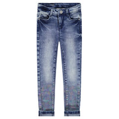 Junior - Jeans effet used avec enduction arc-en-ciel