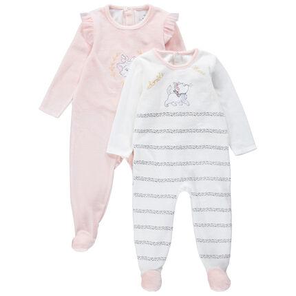 Set met 2 pyjama's van velours met motief van Marie van de Aristokatten van Disney