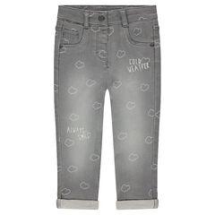"""Jeans met used effect en wolkenprint """"all-over"""""""