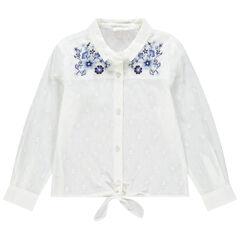 Chemise manches longues à motif jacquard et broderies florales