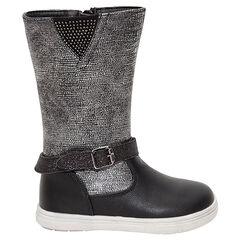 Zwarte en zilveren laarzen met studs en riem met pailletjes