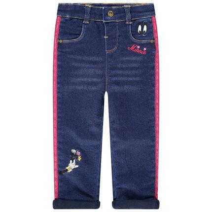 Jeans met used en crinkle-effect en met contrasterende stroken en borduurwerk