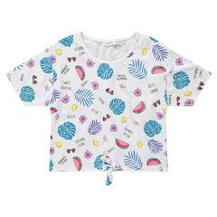 """Junior - T-shirt met korte mouwen met tropische print """"all-over"""" en met knooplintjes"""