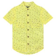 Chemise manches courtes en coton léger imprimée all-over