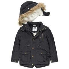 Junior - Parka van linnen met sherpavoering met zakken en afneembare kap