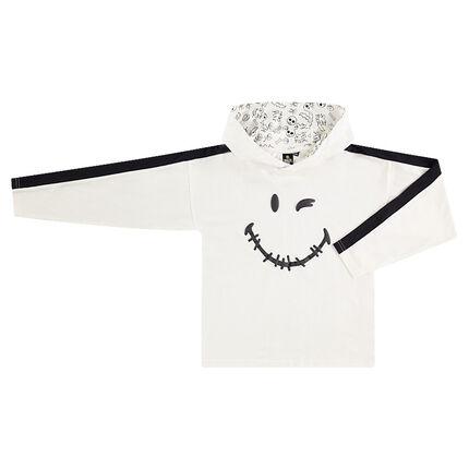 Junior - Tee-shirt manches longues à capuche avec ©Smiley printé HALLOWEEN