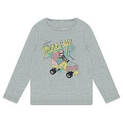 Tee-shirt manches longues en jersey avec patin printé