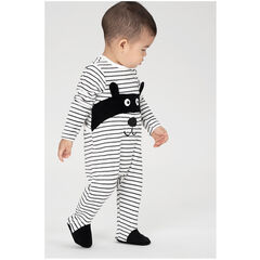 """Pyjama van velours met streepjes """"all-over"""" en gemaskerd dier"""