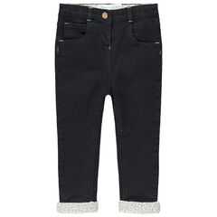 Jeans met used effect en voering van jerseystof met strikjes met luipaardmotief