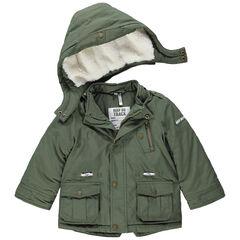 Parka kaki doublée sherpa à poches et capuche amovible