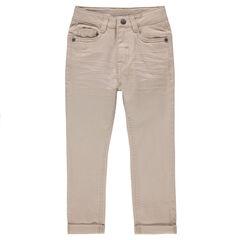 Pantalon en twill effet crinkle uni