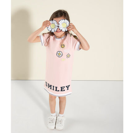 Jurk met korte mouwen in T-shirtvorm met brduurwerk en Smiley-print