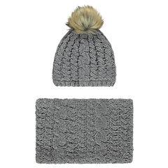 Ensemble bonnet et snood en maille chenille torsadée