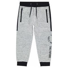 Pantalon de jogging en molleton avec poches zippées et découpes
