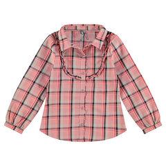Chemise manches longues à carreaux avec découpe volantée