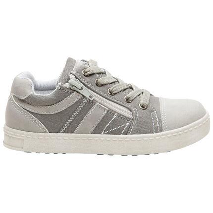Lage, linnen sneakers met veters en rits aan de zijkant