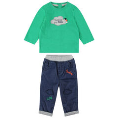 Ensemble met groen T-shirt met lange mouwen en jeans met borduurwerk