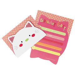 Lot de 10 cartons d'invitations anniversaire motif chat