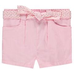Short en coton avec ceinture à pois