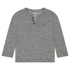 Junior - T-shirt met lange mouwen van gedraaid breiwerk met geborduurd logo