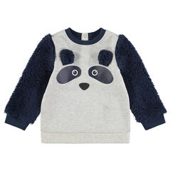 Sweater van molton met mouwen van sherpastof en print met panda
