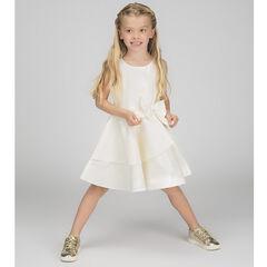 Gesatineerde jurk zonder mouwen met volants en strik aan de taille