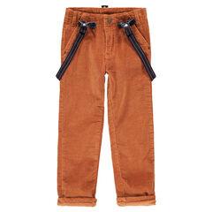 Broek van velours met heel fijne streepjes en afneembare, elastische schouderbanden