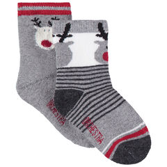 Lot de 2 paires de chaussettes assorties motif cerfs en jacquard
