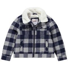 Vest van flanel met ruitjes en voering van sherpastof met zakken