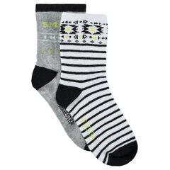 Lot de 2 paires de chaussettes assorties avec motif ethnique